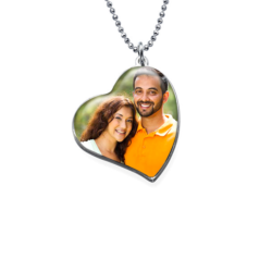 My Jewel Story - tilted heart photo pendant with engraved message